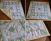 Rose pink green and yellow baby blanket hand tied quilt!