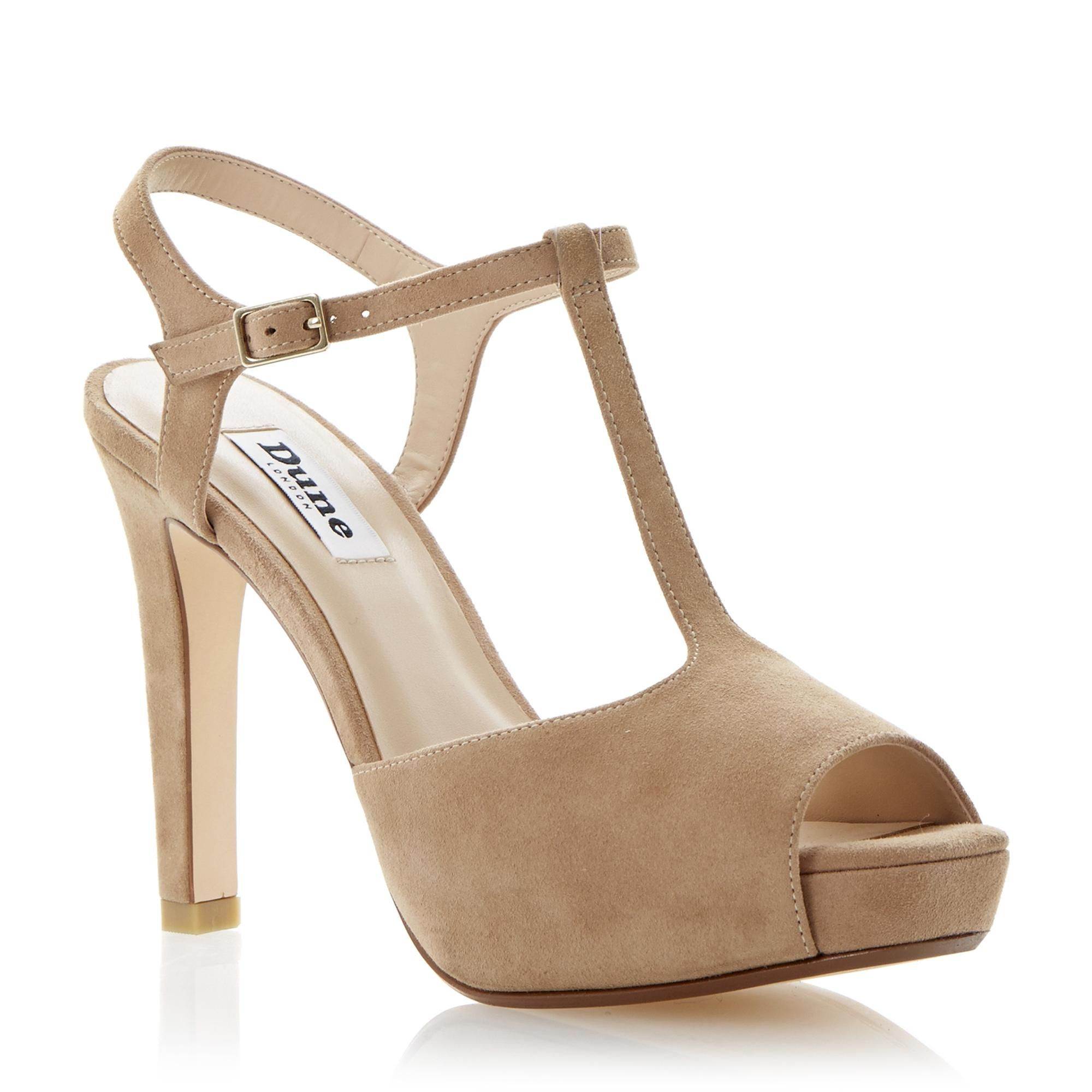 e867b55086 DUNE LADIES Neutral HARLANE - Suede High Heel Platform T-Bar Sandal | Dune  Shoes Online