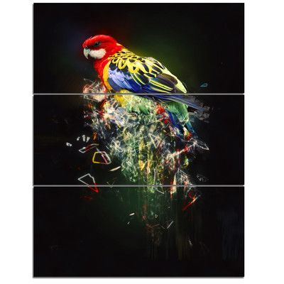 DesignArt 'Fantasy Parrot on Branch' 3 Piece Graphic Art on Wrapped Canvas Set