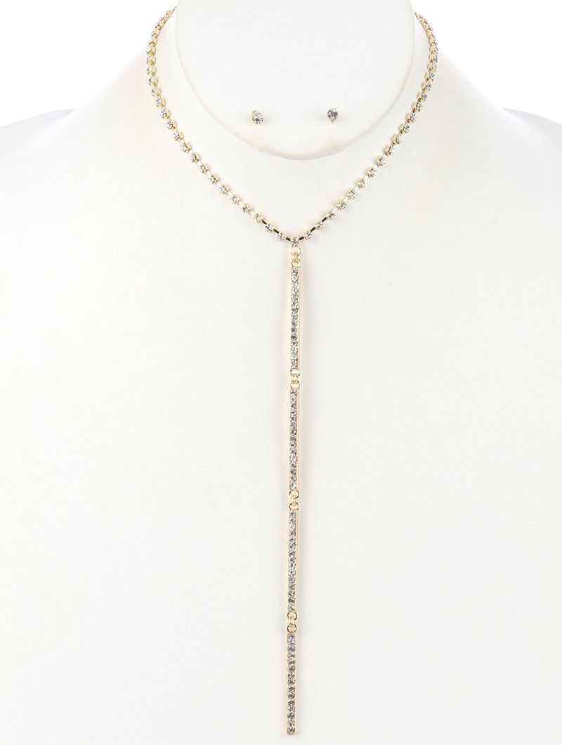 """16"""" gold crystal Y bar necklace .10"""" earrings 7.50"""" drop"""