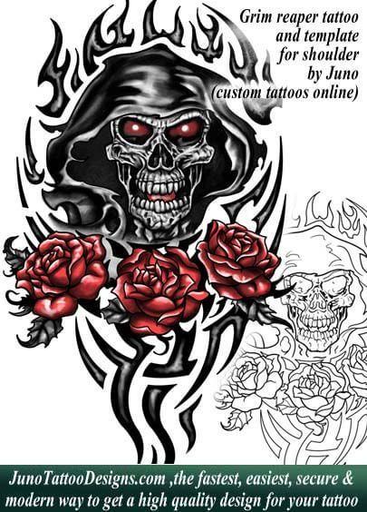 Grim Reaper Tattoo Tattoo Template Juno Tattoo Designs  Grimm