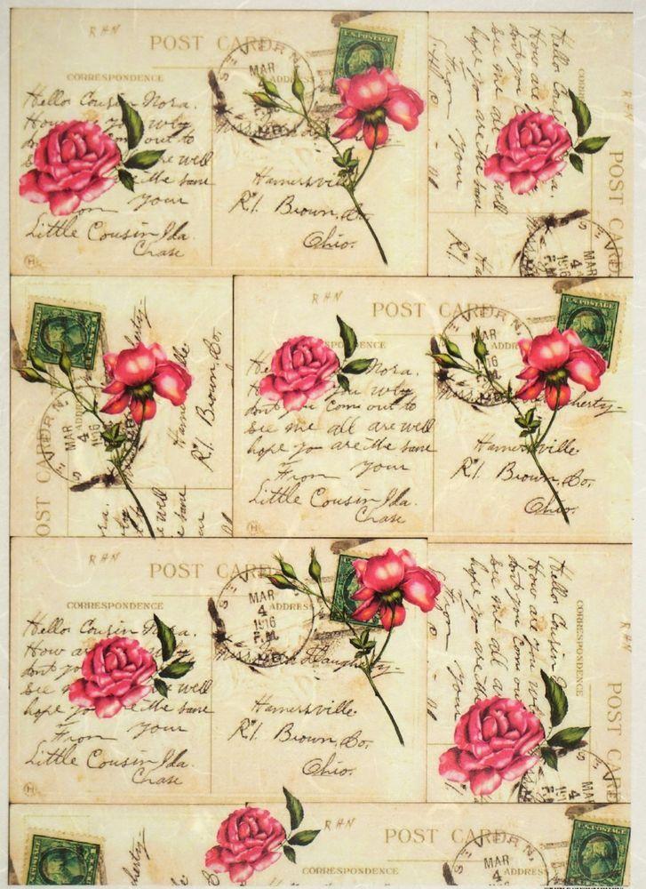Rice Paper for Decoupage Decopatch Scrapbook Craft Sheet Vintage Roses Postcards