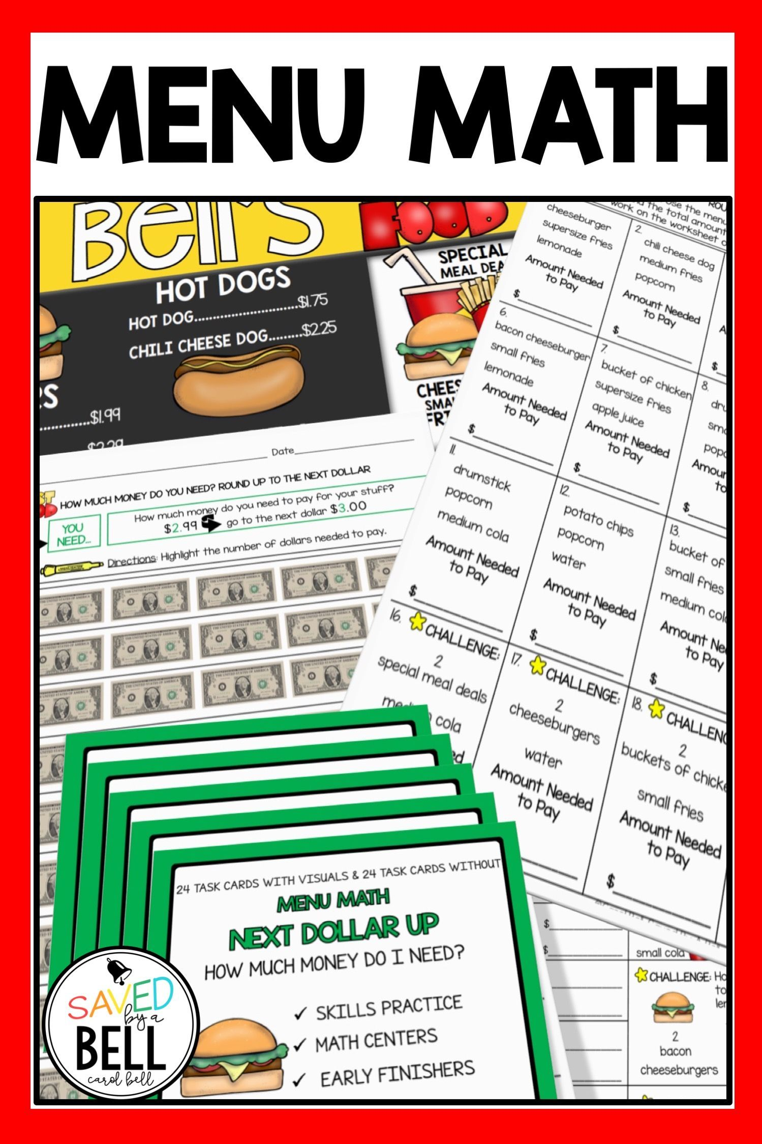 Next Dollar Up Worksheets And Task Cards Bundle Menu Math
