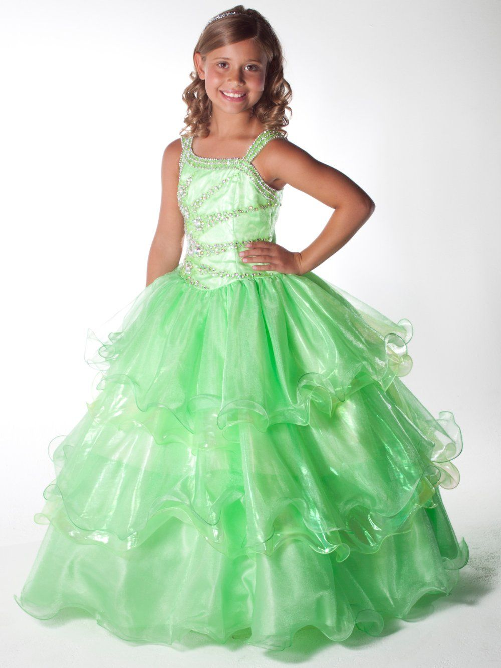 2013 Cute yellow-green Unique Layered Skirt Sugar Pageant Dress Gown Custom  Flower Girl Dresses