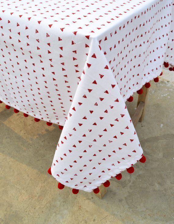 Table Cloth Triangle Print White 100 Cotton Pompom Lace Boho Decor Sizes Available Boho Decor Triangle Print Table Linens