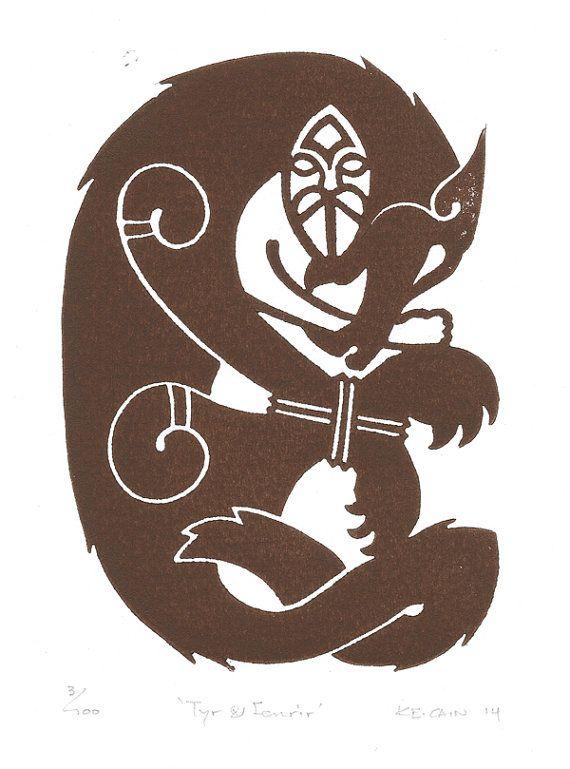 Tyr and Fenrir, Norse Mythology Linocut #norsemythology
