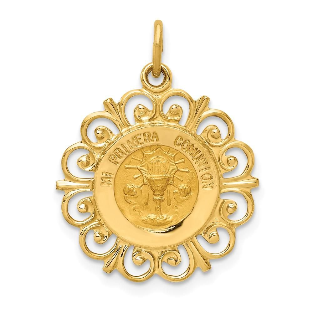 14k Polished and Satin Sacred Heart of Mary Medal Pendant