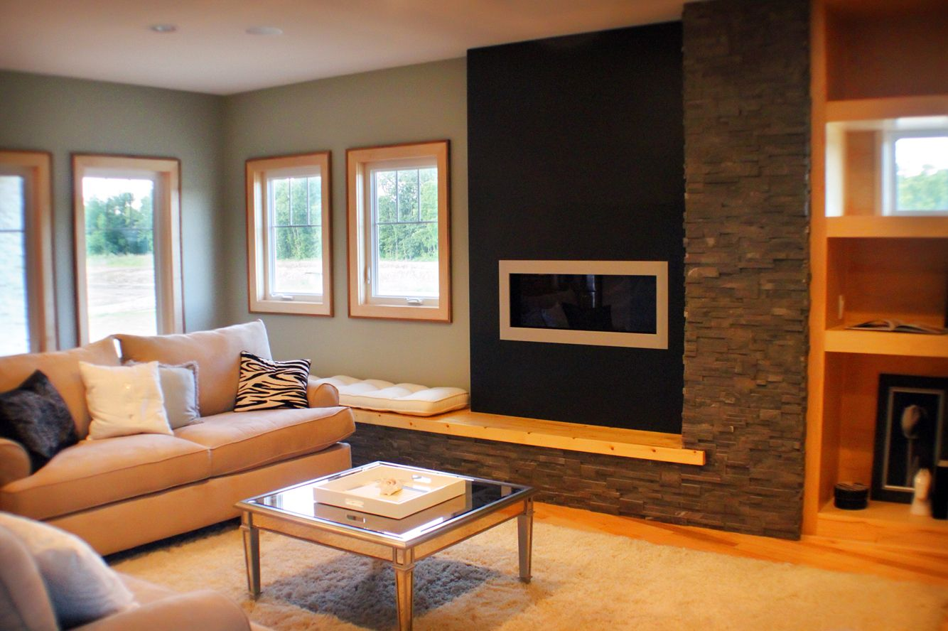 #modern #fireplace #Stacked Stones