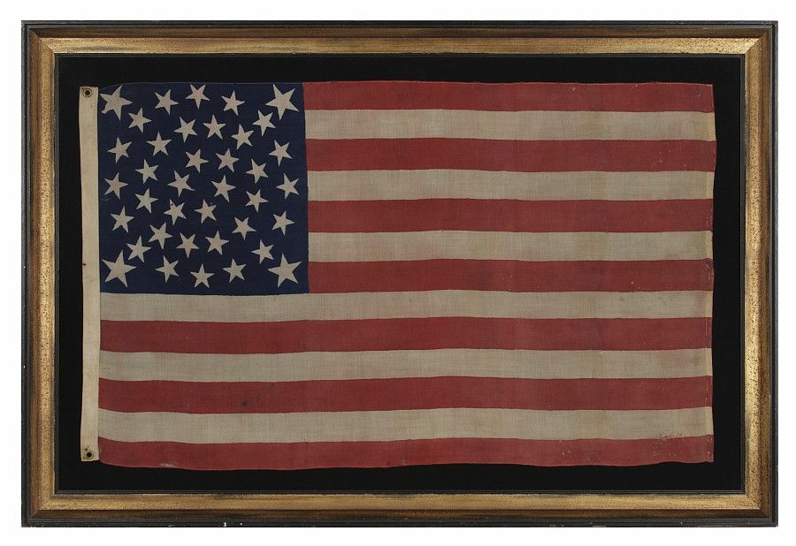 Jeff Bridgman Antique Flags And Painted Furniture 38 Stars Made For The 1876 Centennial Exposition Extremel American Antiques American Flag Civil War Flags