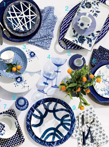 Modern Blue And White Wedding China Patterns. Add A Burst Of Blue To Your  Tabletop With These Graphic China Patterns.