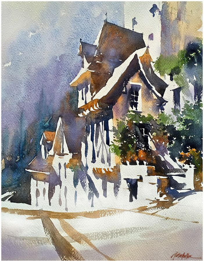 French Cottage by Thomas W. Schaller Watercolor ~ 18 inches x 13 inches