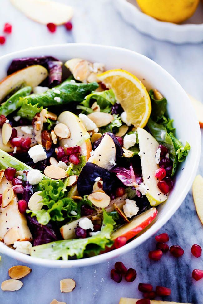 A mouthwatering salad w/ crisp apples, pomegranate, almonds, feta cheese & fresh spring greens topped w/ Creamy Lemon Poppyseed dressing