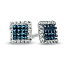 T W Enhanced Blue And White Diamond Square Frame Stud Earrings In