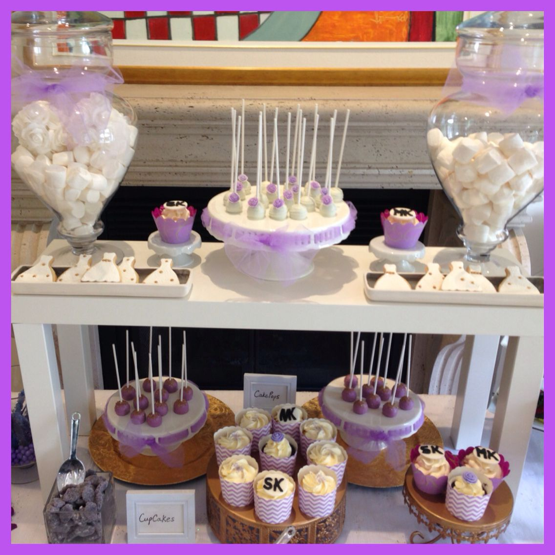 Purple Theme Sweet Candy Bar Bridal Shower Cupcakes Cakepops