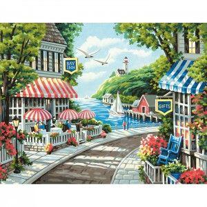 Кафе у моря Раскраска (картина) по номерам акриловыми ...