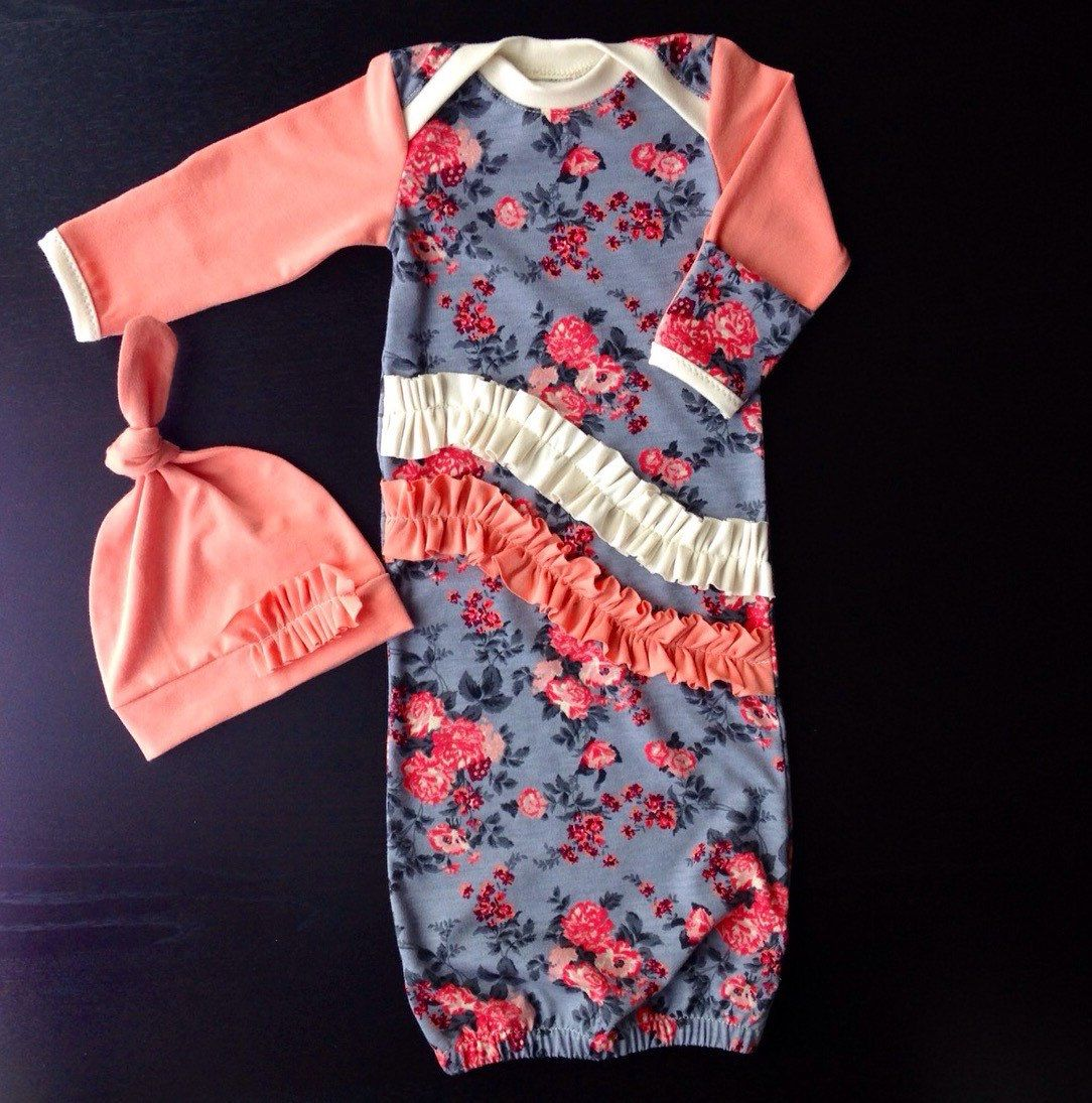 Baby Girl Floral Vintage Going Home Gown With Hand Covers Matching