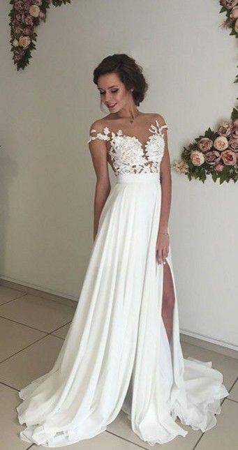 76e11a42698d 2017 Summer Beach Chiffon A-line Side Slit Elegant Wedding Dresses_Bridal  Gowns