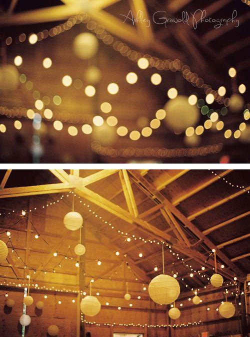 Twinkling wedding lights