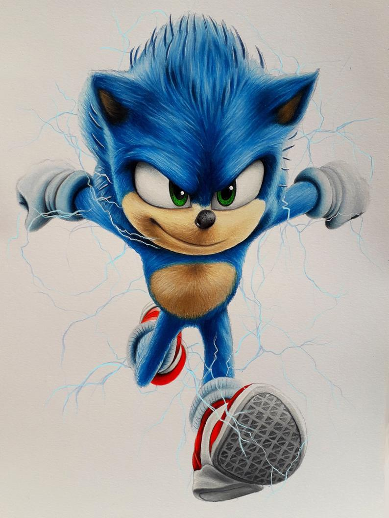 Print Of Sonic Drawing 2020 In 2020 Hedgehog Drawing Sonic