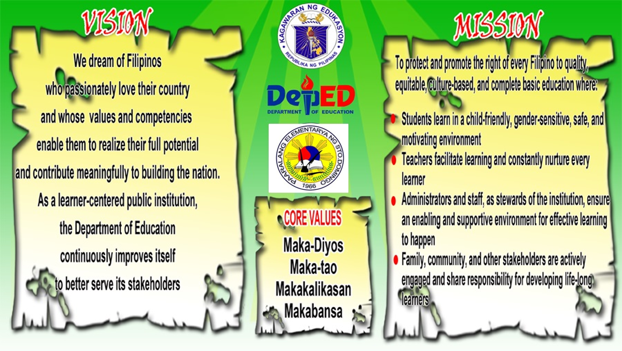 Deped Mission Vision Core Values