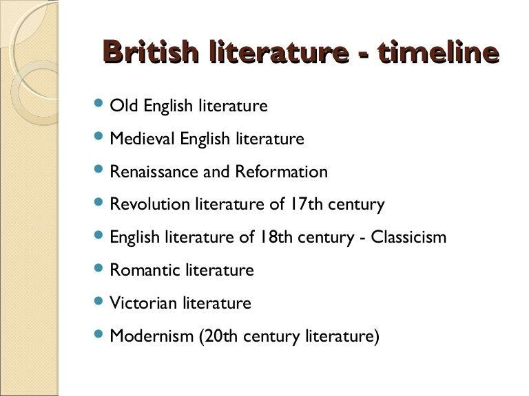 British Literature Timelinebritish Literature Timeline Old English Literature Medieva British Literature History Of English Literature English Literature