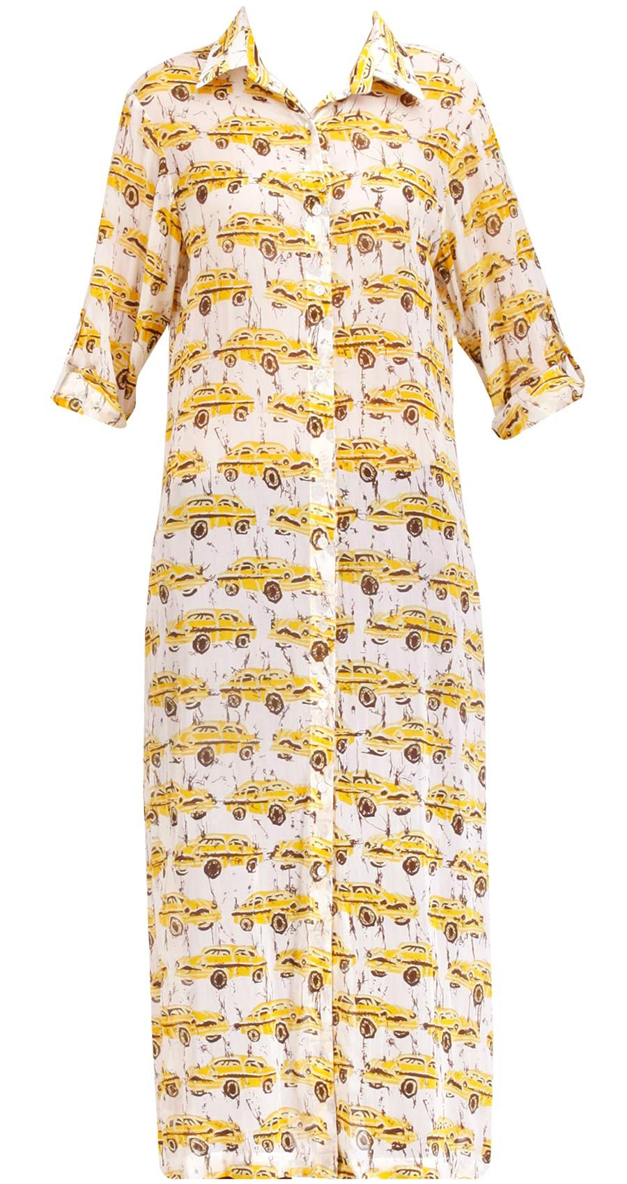 White and yellow taxi print long dress by dev r nil shop at