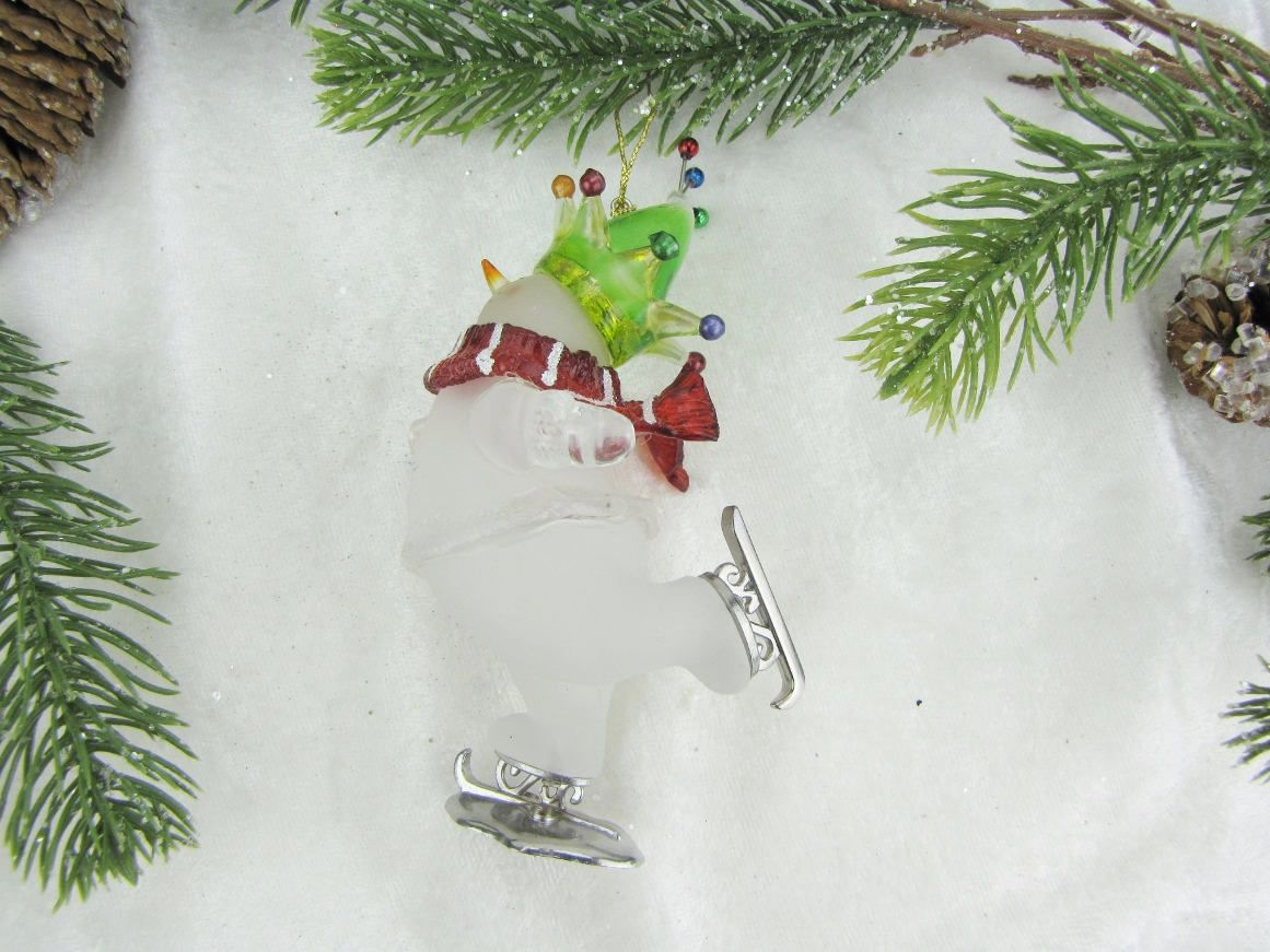 Ice Skating Snowman Ornament with Green Jester/'s Hat /& Red Scarf Snowman Ornament Self Standing Ornament Tree Decoration Sister Hostess Gift
