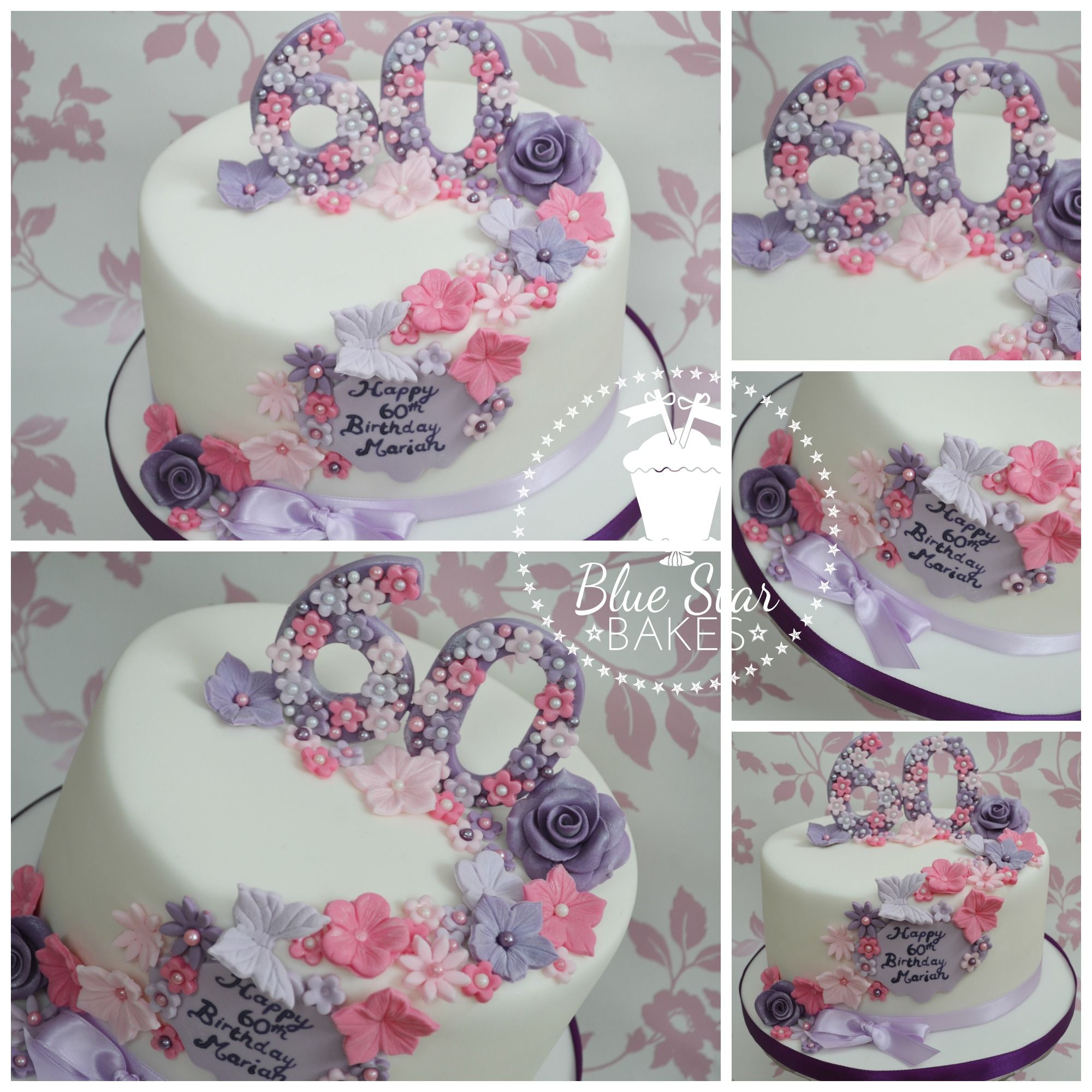 60th Birthday Cake Lady Girl Pretty Flowers Pink Purple Lilac Bows
