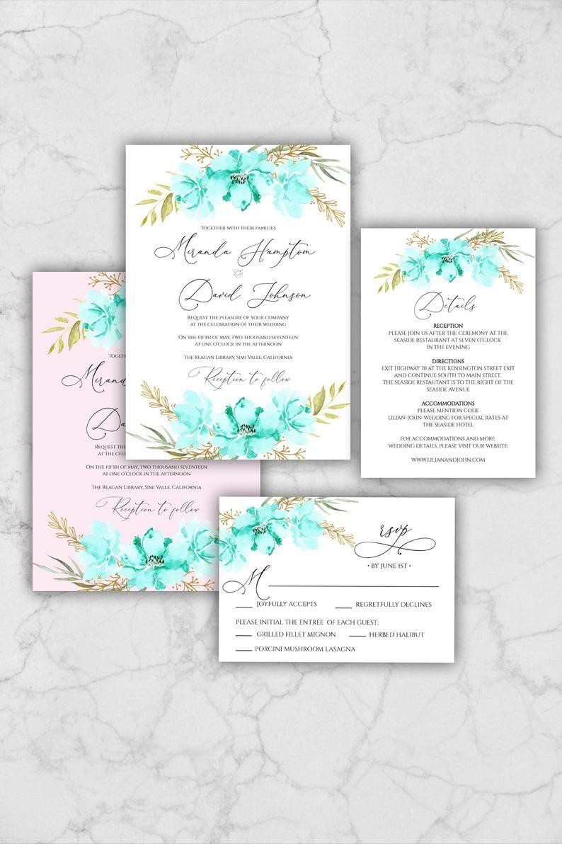 Mint Green flowers Wedding Invitation Suite Template, Blue