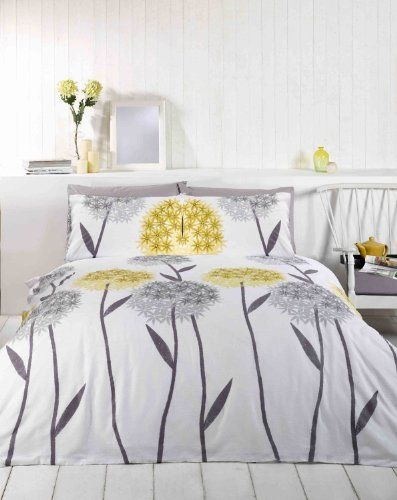 Dandelion Yellow Grey Full Floral Cotton Blend Comforter Cover Set Muilla Rh Pcj Supplies Http Www Amazon Yellow Duvet Yellow Bedding Yellow Bedding Sets