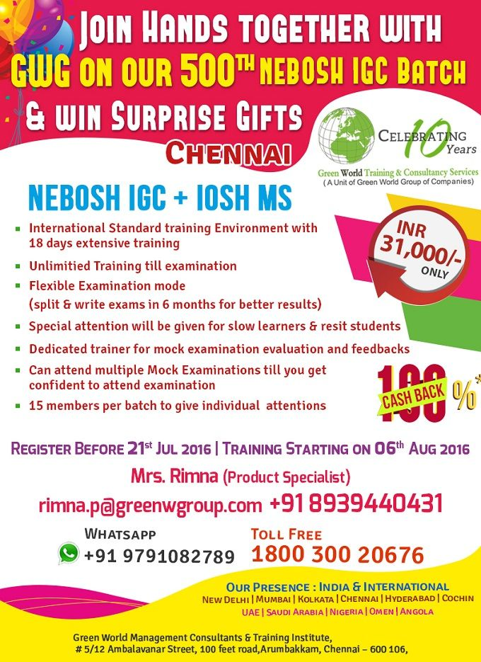 Gwg S Casback Offer For Nebosh Course In Chennai Http Greenwgroup
