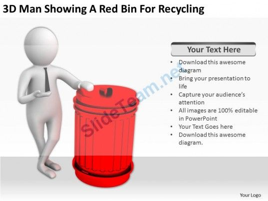3D Man Showing a Red Bin for Recycling Ppt Graphics Icons Powerpoint - recycling powerpoint templates