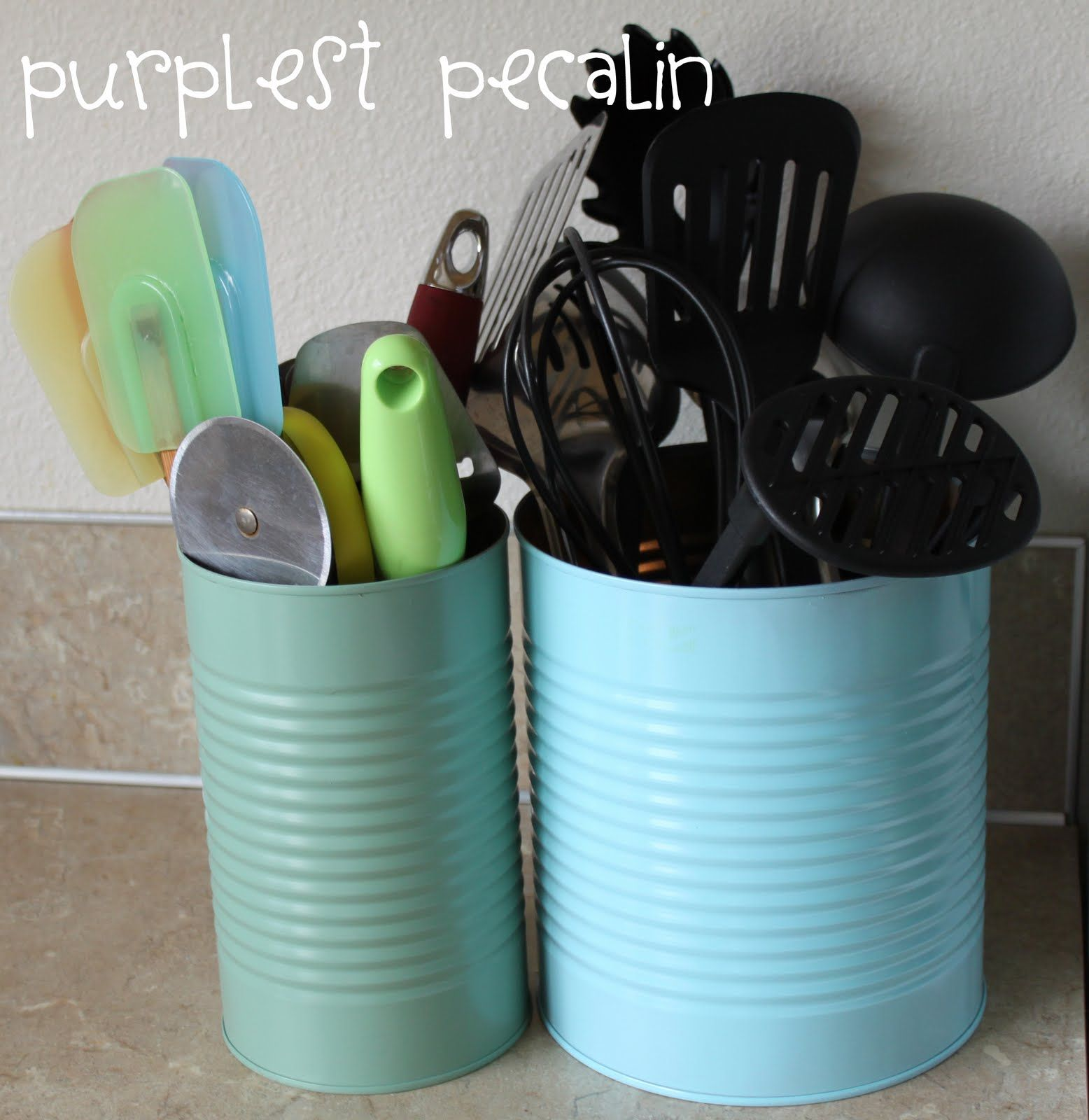 Utensil Holders (fold and wrap ribbon around top of canister to make ...