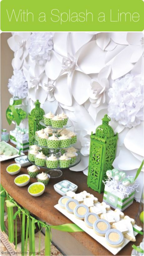white and lime green bridal shower by ellen bessette events