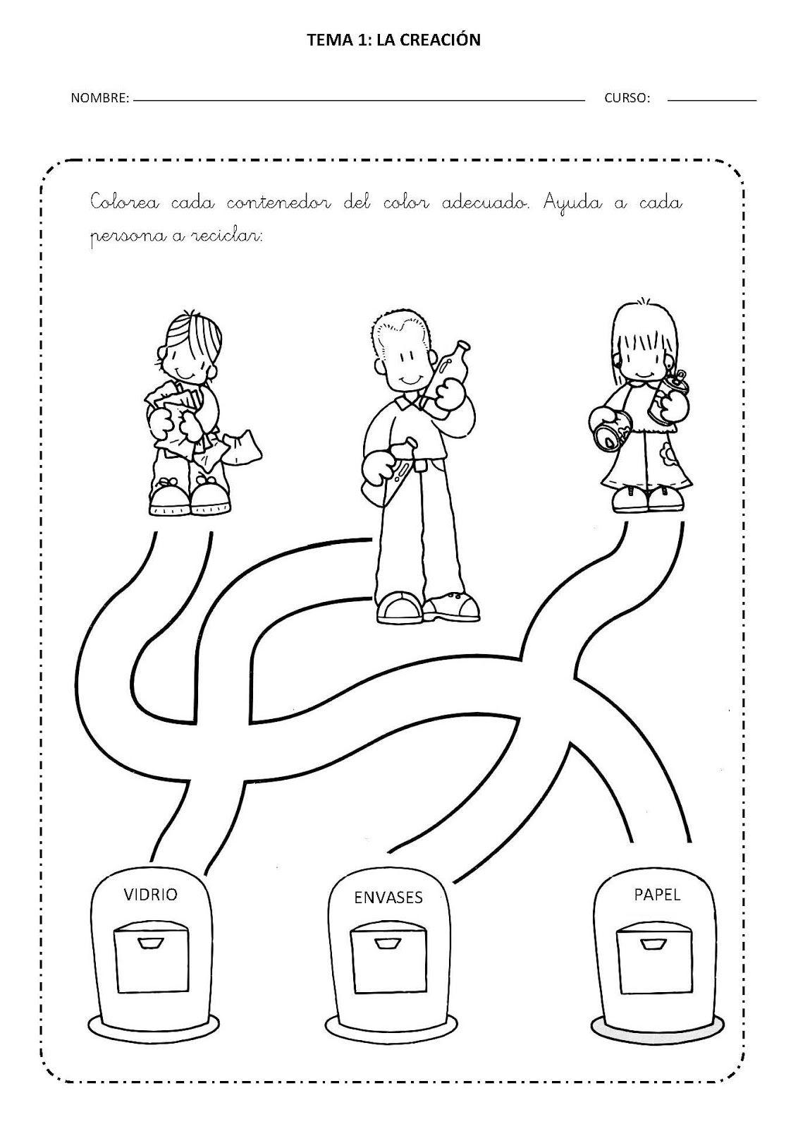 Dibujos del reciclaje para colorear para niños - Imagui ... |Reciclar Para Colorear