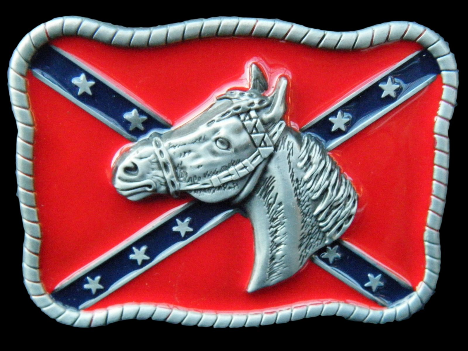 REBEL CONFEDERATE SOUTHERN SOUTH DIXIE FLAG HORSE HORSEHEAD BELT BUCKLE BUCKLES