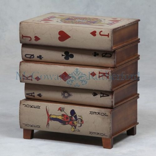 Delightful Vintage U0027Jack Of Hearts Stacked Booksu0027 Side Table / Cabinet (46 X 55 X 32cm)