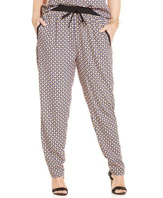 Stevie and Lindsay Plus Size Printed Soft Pants