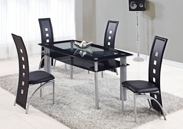 Merveilleux Room · D1058 Series Black Silver Glass Metal PVC Dining Room Set