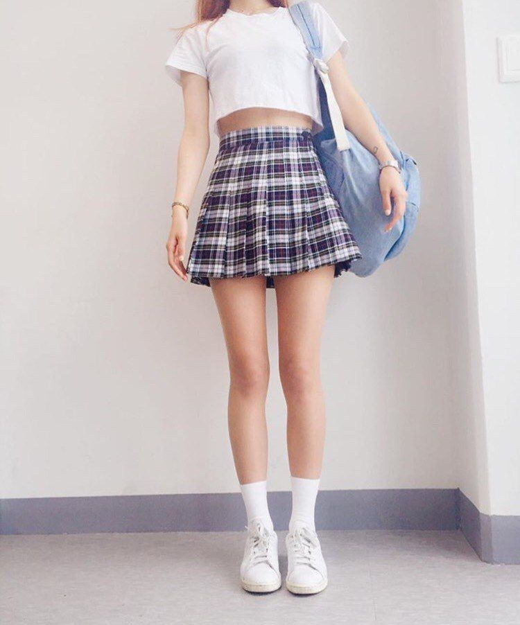 Redhead in blue plaid skirt picture 305