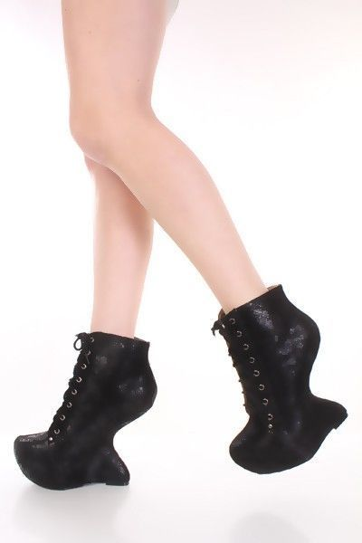 5c2e89f25251 Black Crinkled Faux Suede Lace Up Anti Gravity Wedges   Amiclubwear Wedges  Shoes Store Wedge