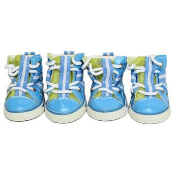 5eaedd217338 Parisian Pet Dog Sneakers - Blue and Lime Give your pup a sporty look and  paw