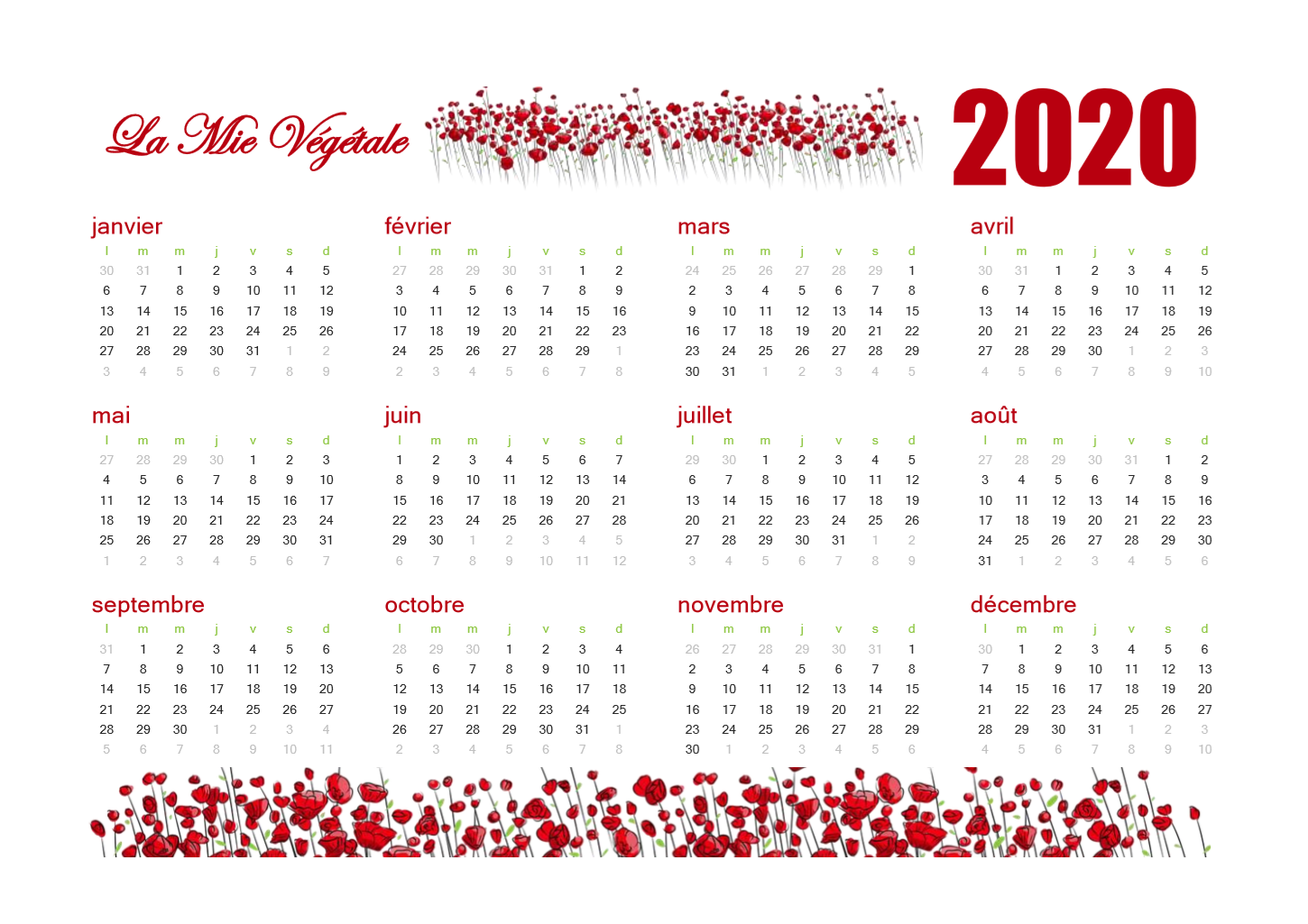 Calendrier Bullet Journal 2020.Calendrier 2020 Au Theme Coquelicot Bulletjournal Bujo