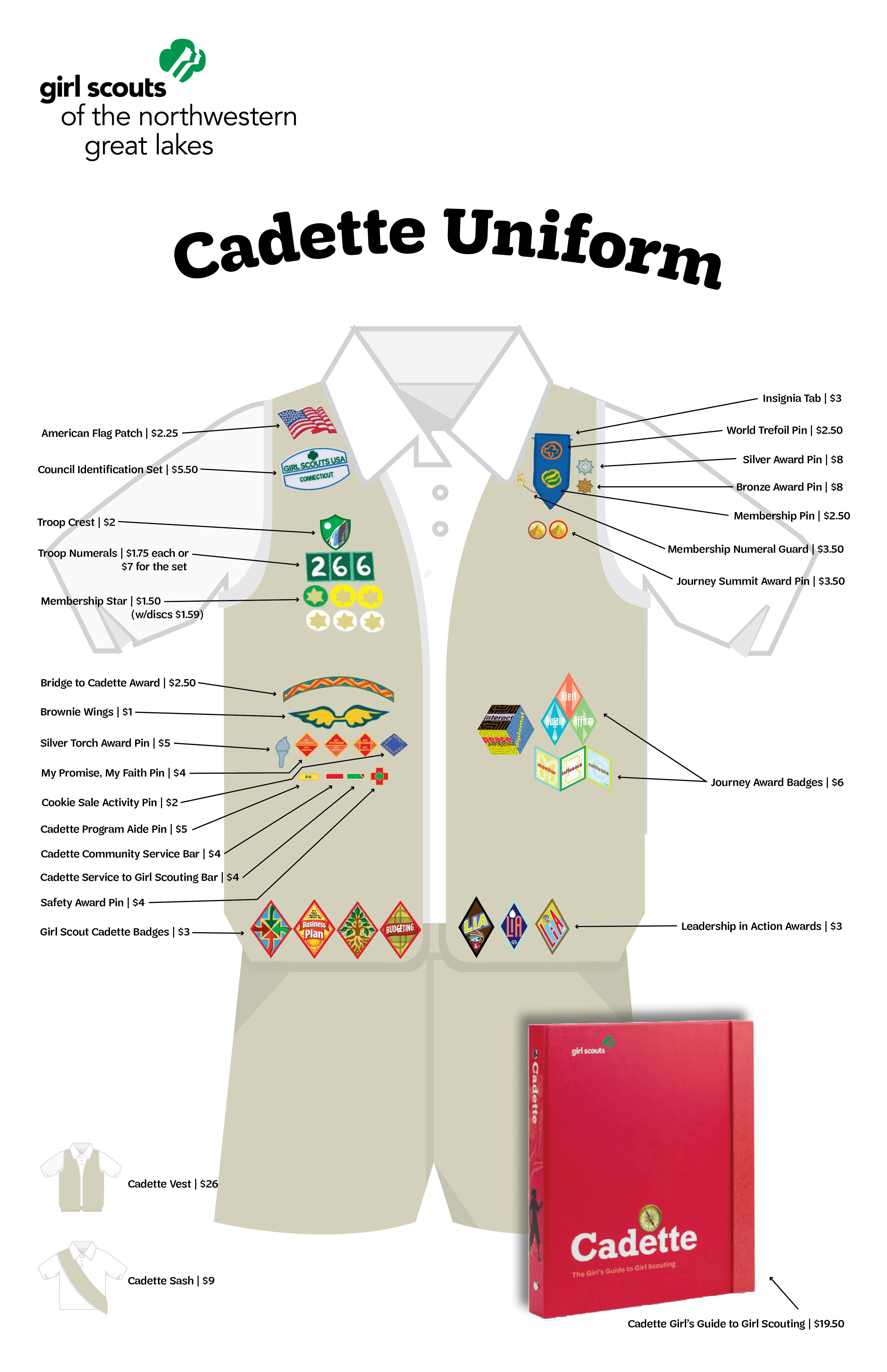Cadette Uniform Guide | GSNWGL Price Sheet Girl Scout Uniform, Save The  Planet, Girl