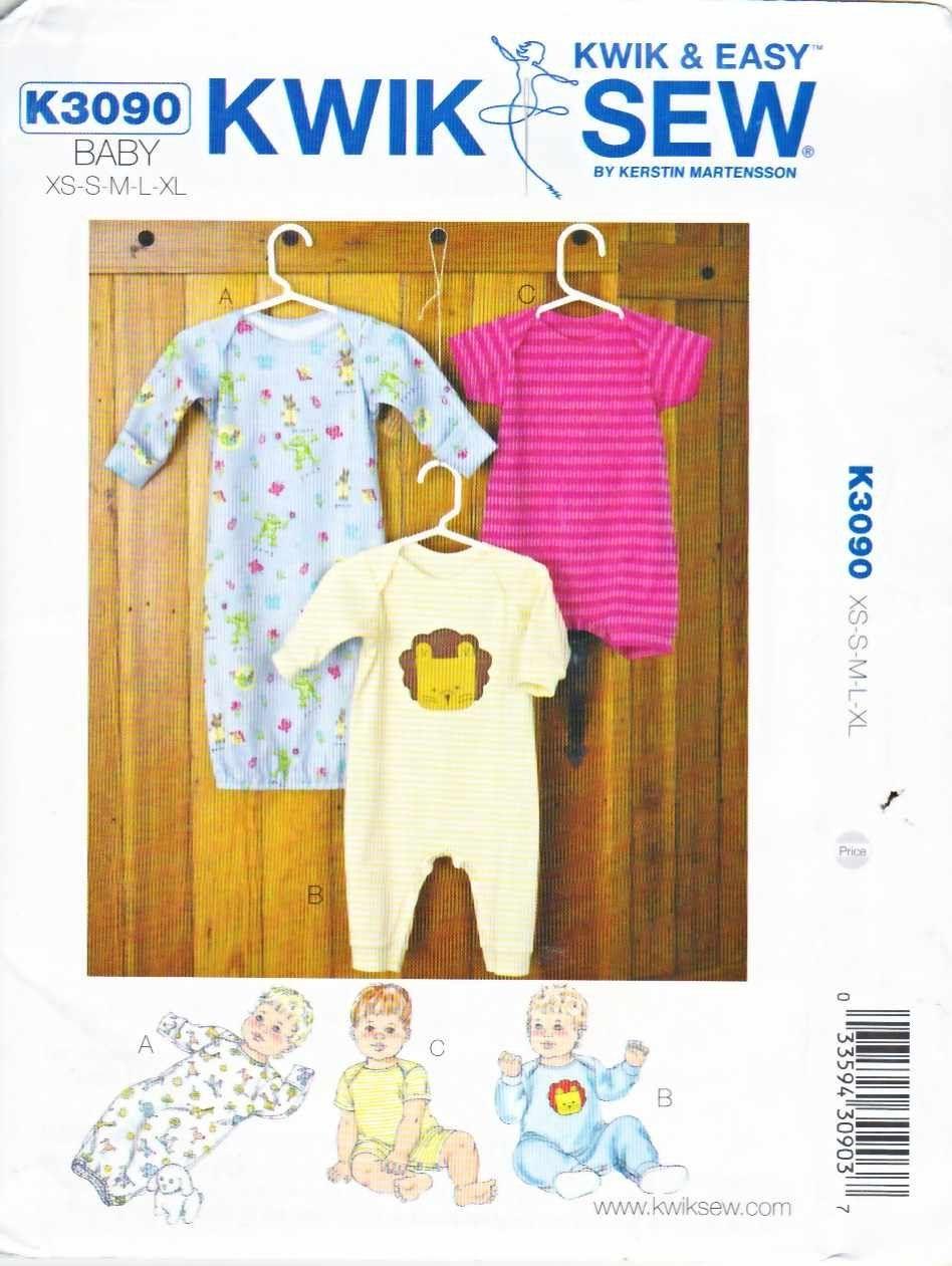 Kwik sew sewing pattern 3090 baby size 8 26 baby gown sleeper kwik sew sewing pattern 3090 baby size 8 26 baby gown sleeper sleeve leg jeuxipadfo Choice Image