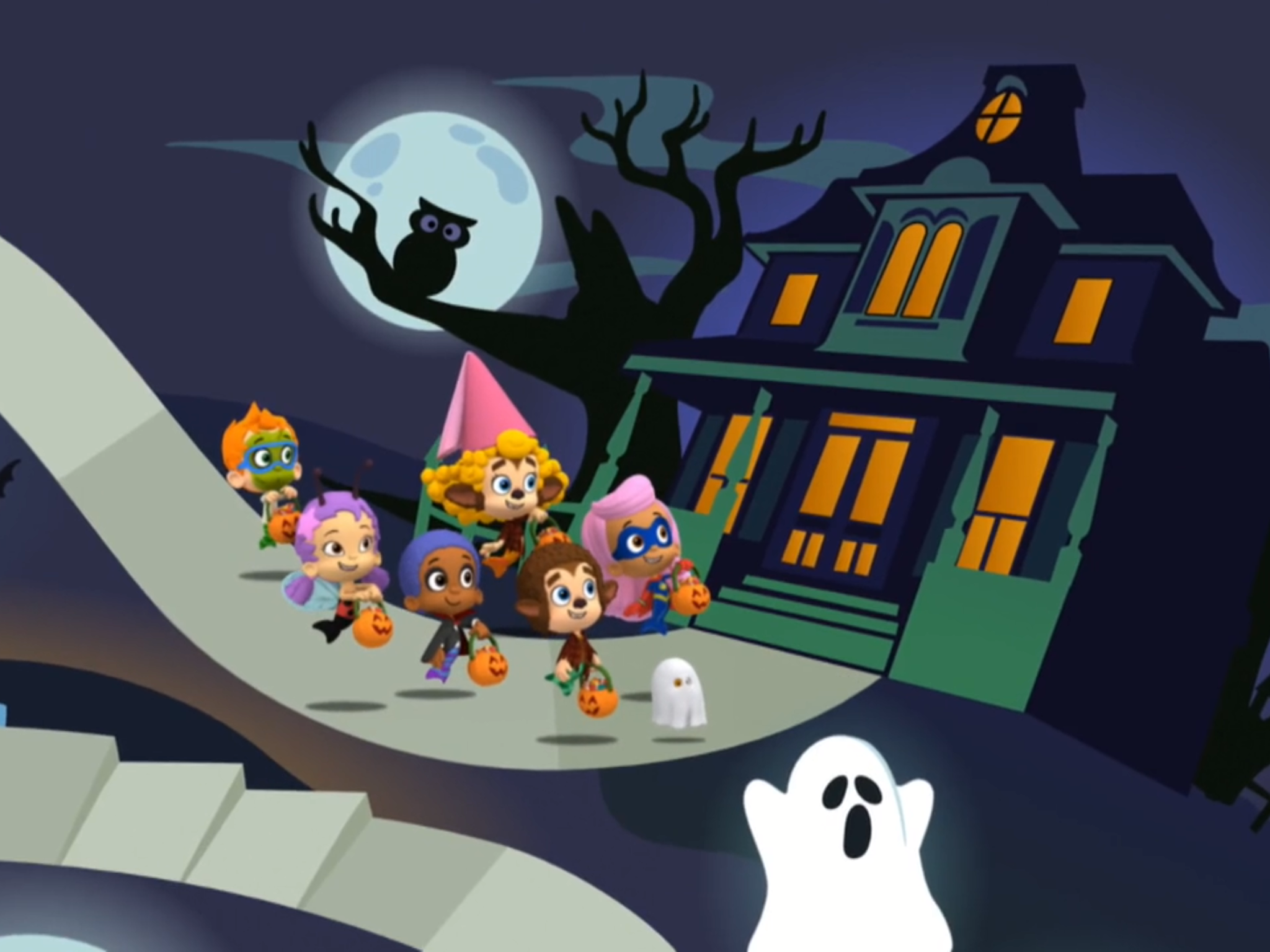 The Six Guppies Are Going To The Haunted House To Go Trick ...