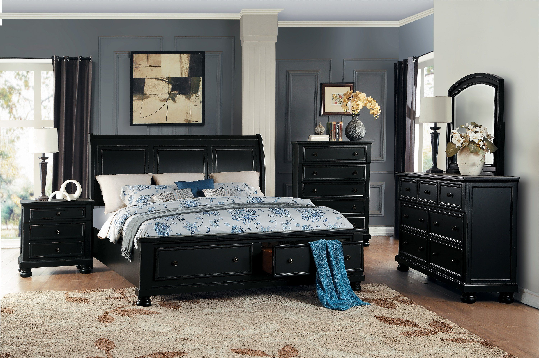 Laurelin Black Queen Storage Platform Sleigh Bed Black Bedroom Sets Bedroom Sets Queen Black Bedroom Furniture Set Black queen bedroom set