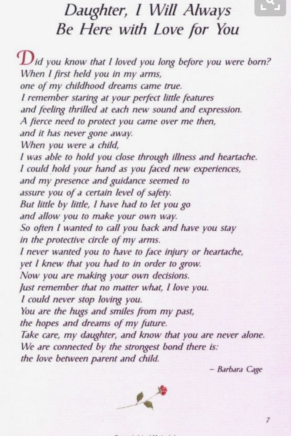 Love You Always Daughter Poem To My Daughter My Daughter Quotes Wedding Day Quotes