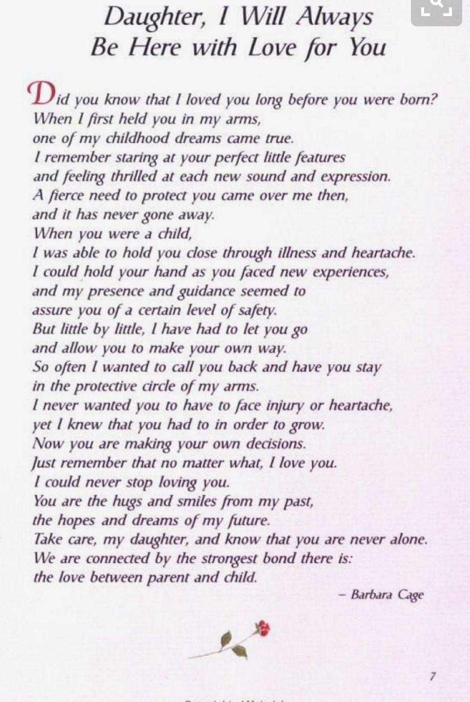Love you always Daughter Poem to my daughter, Wedding