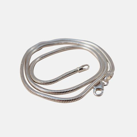 """Sterling Silver Round Snake Chain """"Slinky"""" Necklace 20 inch"""